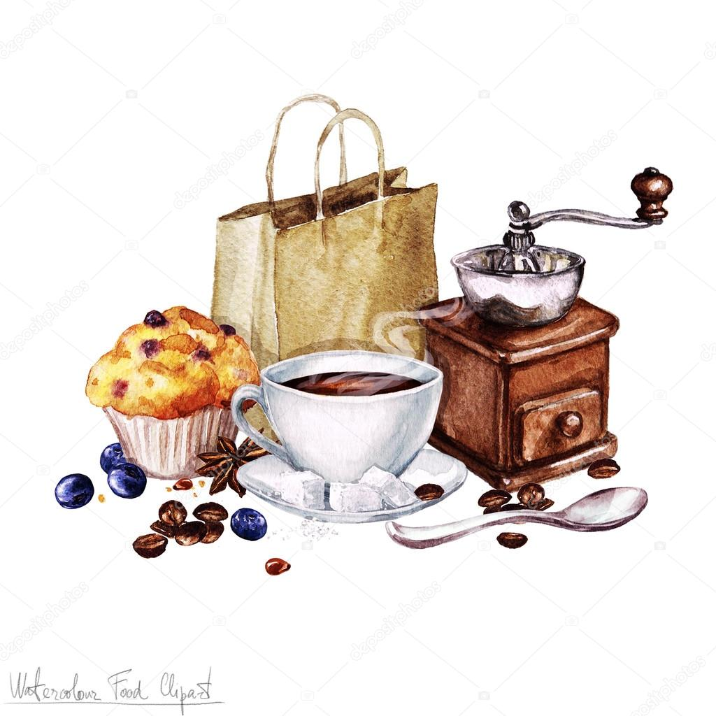 Watercolor food clipart coffee and muffin stock photo for Coffee watercolor