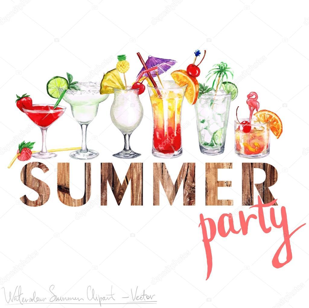 Summer Party - Vector Watercolor Clipart — Stock Vector ...