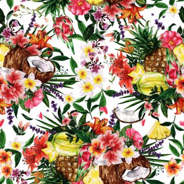 """Картина, постер, плакат, фотообои """"бесшовный рисунок акварели - тропический цветочный фон """", артикул 111427378"""