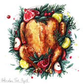 Fotografie Watercolor Food Clipart - Roast Turkey