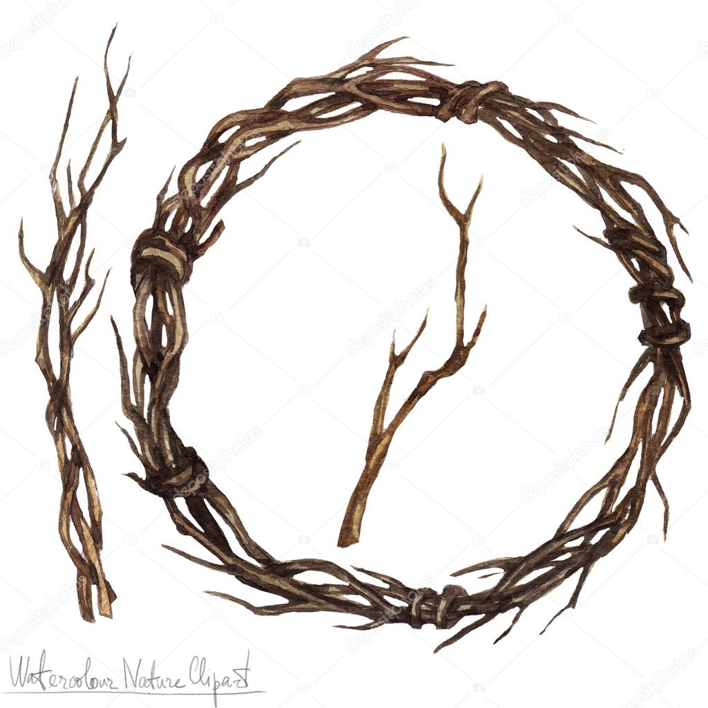 Watercolor Nature Clipart - twine wreath