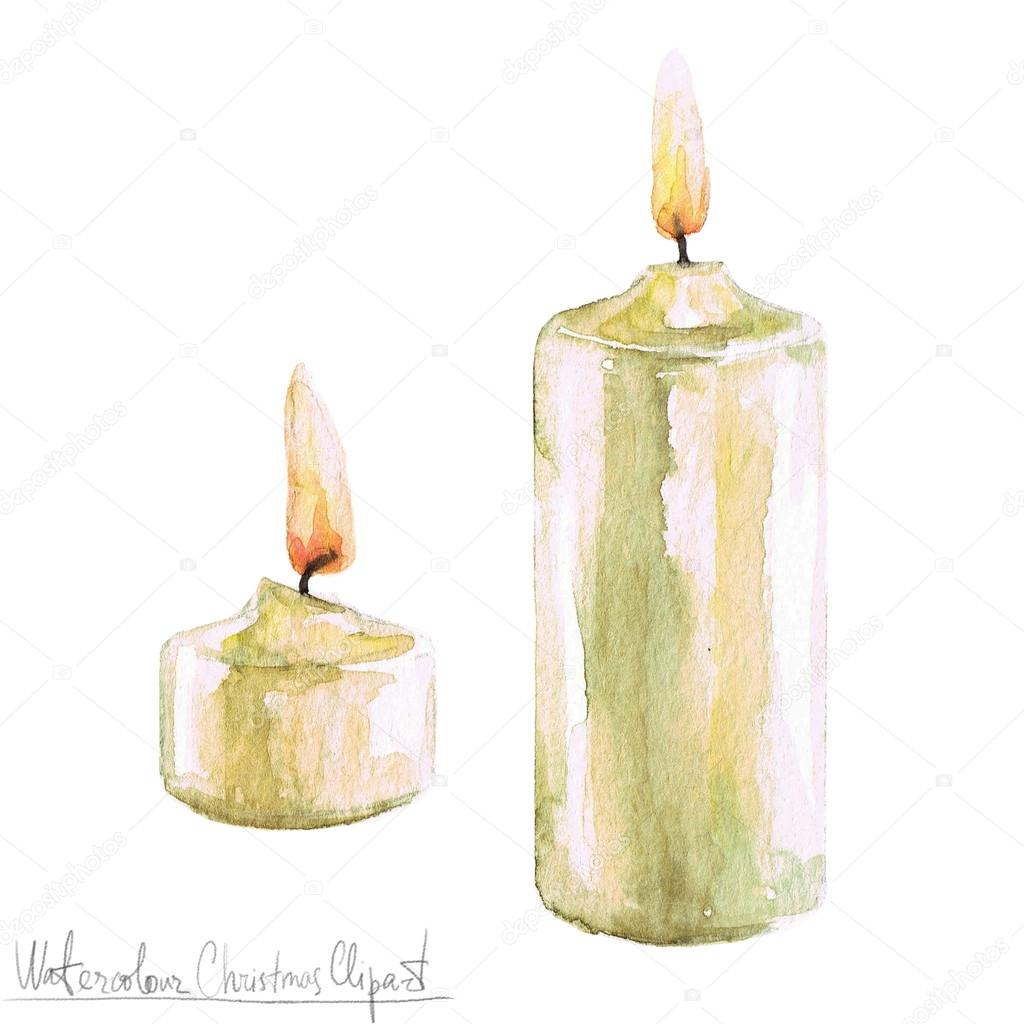 Popular Watercolor Christmas Clipart - Candles — Stock Photo  DI66