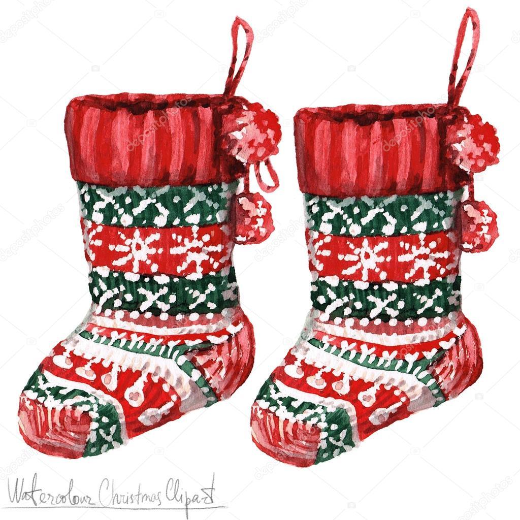 Aquarell Weihnachten Clipart - Socken — Stockfoto © nataliahubbert ...