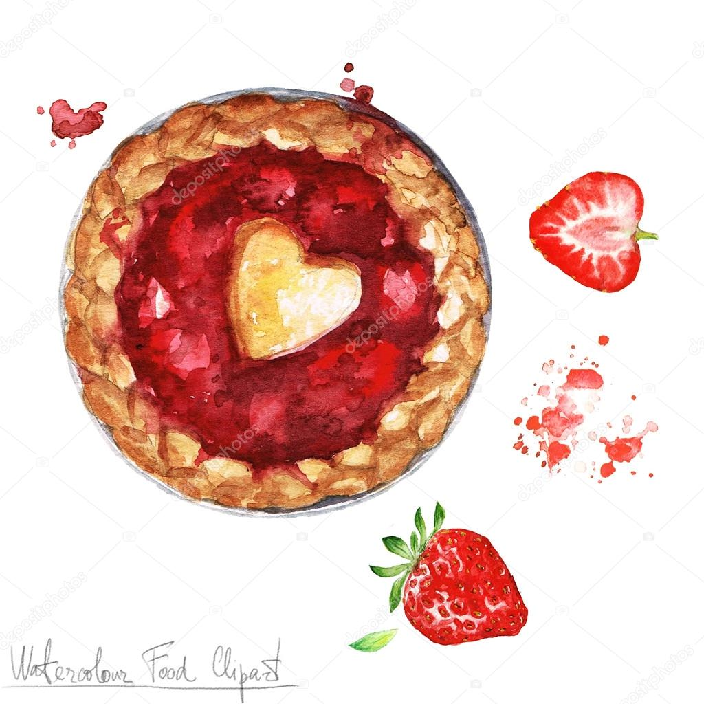 watercolor food clipart strawberry pie stock photo