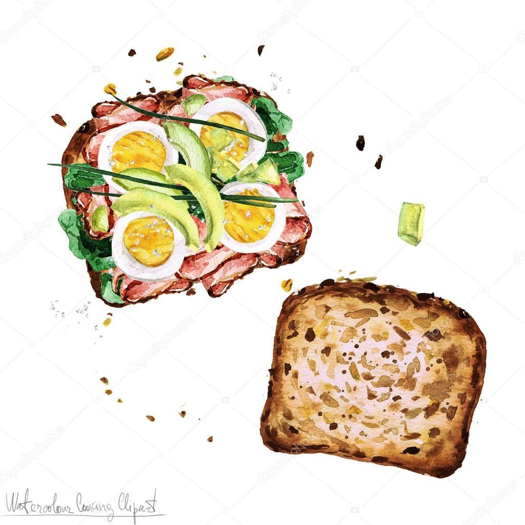 水彩食べ物クリップアート サンドイッチ ストック写真