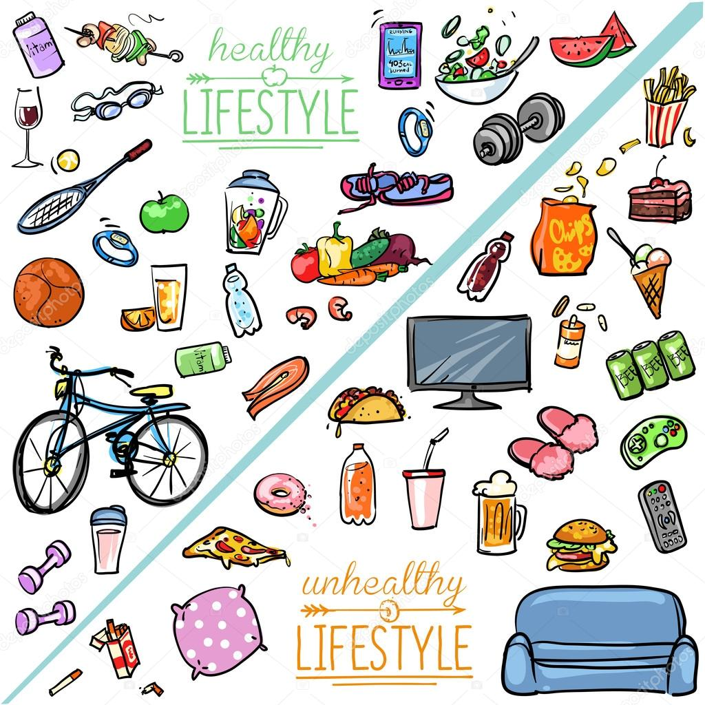 Healthy lifestyle vs unhealthy lifestyle stock vector for Lift style