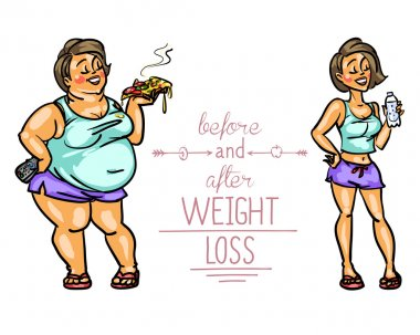Woman before and after weight loss.