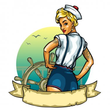 Pin Up Sailor Girl isolated on white - label