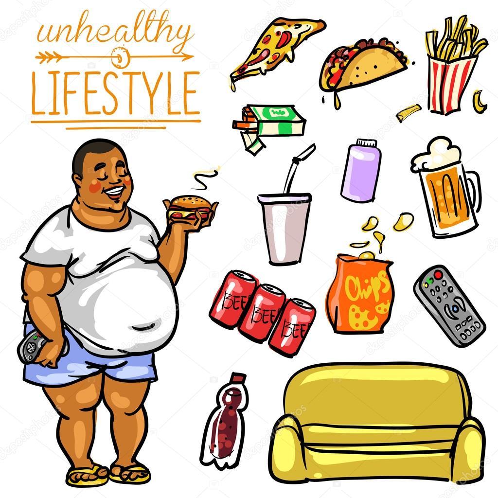 5,561 Unhealthy lifestyle cartoon Vectors, Royalty-free Vector Unhealthy  lifestyle cartoon Images | Depositphotos®