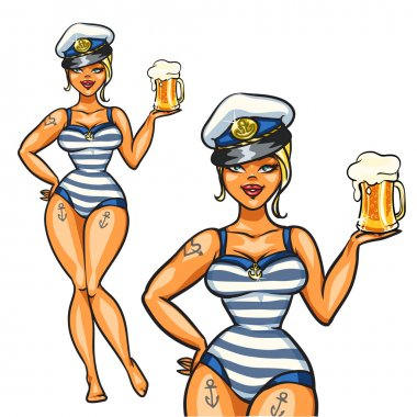 Pin Up Sailor Girl with cold beer