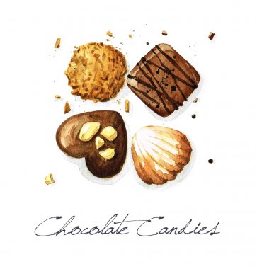 Chocolate Candies - Watercolor Food Collection