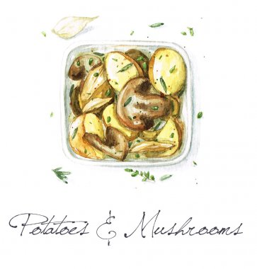 Potatoes and Mushrooms - Watercolor Food Collection