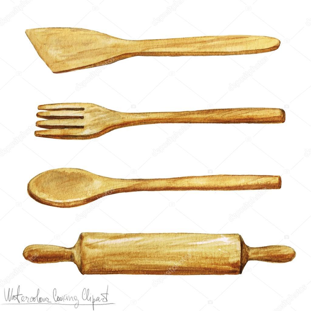 Acquerello clipart utensili di cucina foto stock for Gli utensili di cucina