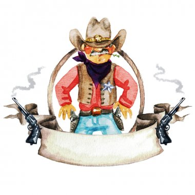Rodeo watercolor label with space for text