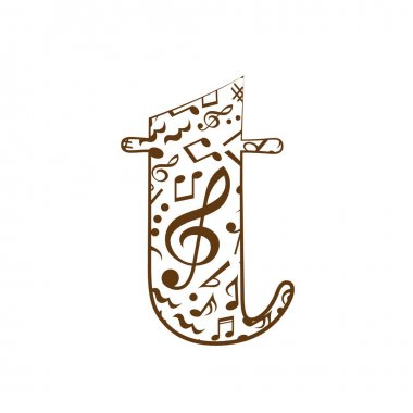 Abstract vector alphabet - t made from music notes - alphabet set icon