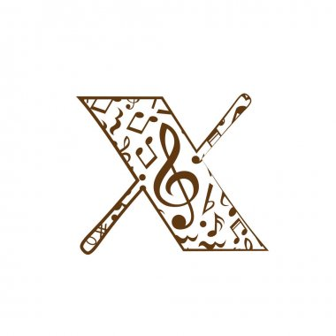 Abstract vector alphabet - x made from music notes - alphabet set icon