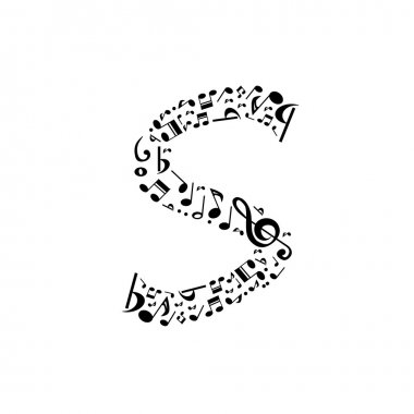 Abstract vector alphabet - S made from music notes - alphabet se