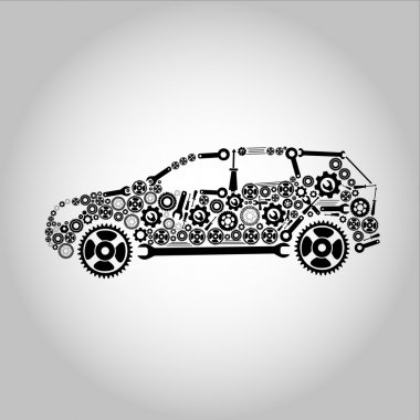 Concept, symbolizing the car as a mechanism clip art vector