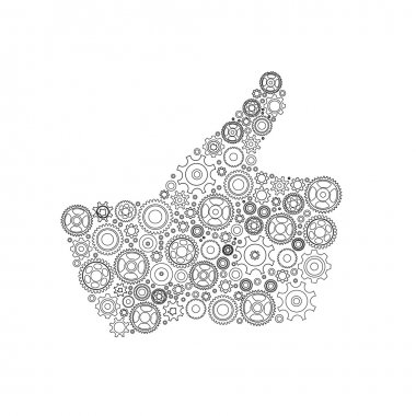 Thumbs Up Symbol, Which is Composed of Black Gears. Vector illus