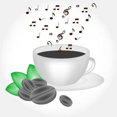 Coffee cup with musical smoke