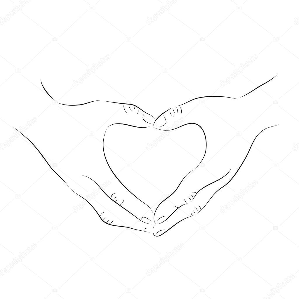 El çizimi Yapılan Kalp şekli Tasarımı Stok Vektör