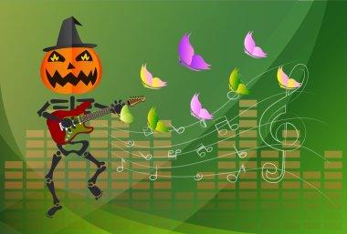 Pumpkin-headed skeleton, playing guitar.