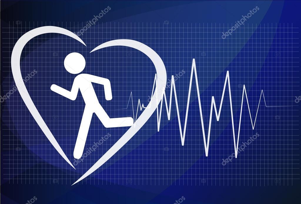 Heartbeat Make Running Man Symbol Stock Vector Health Concept