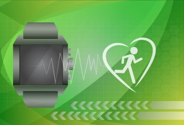Fitness tracker application for smart watch concept with heart m