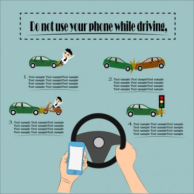 Danger, Do not use your phone while driving, Illustration vector