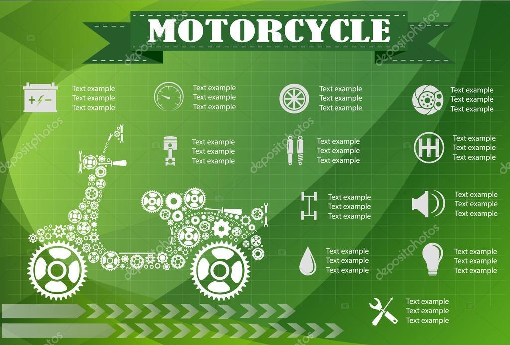 motorcycle part information. Vector illustration