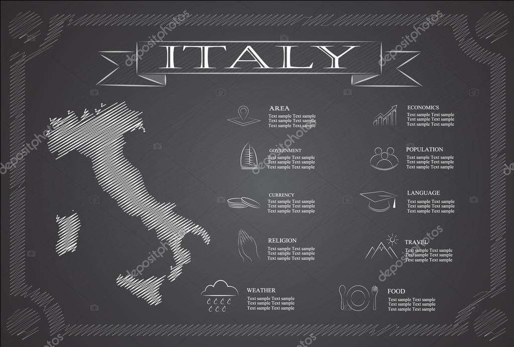Italian Republic infographics, statistical data,