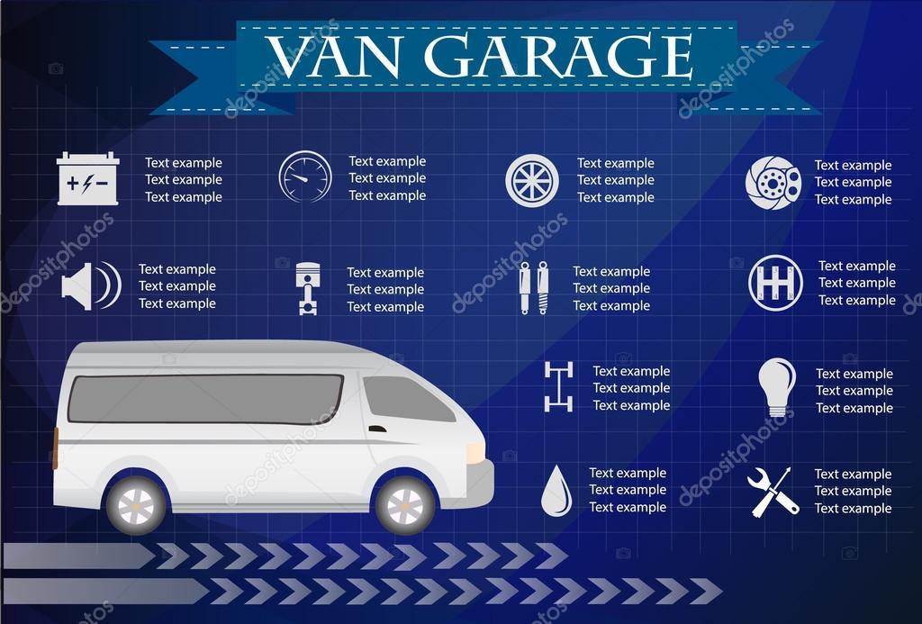 van service, repair Infographics. vector illustration
