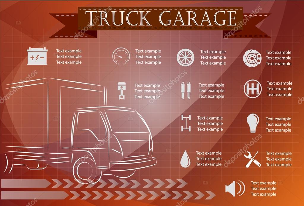 Truck service, repair Infographics. vector illustration