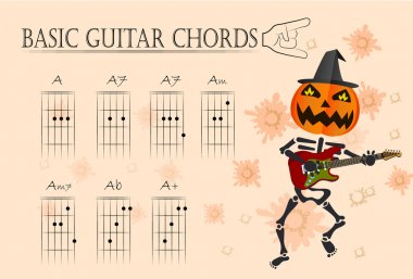 Basic guitar chords ,Vector illustration