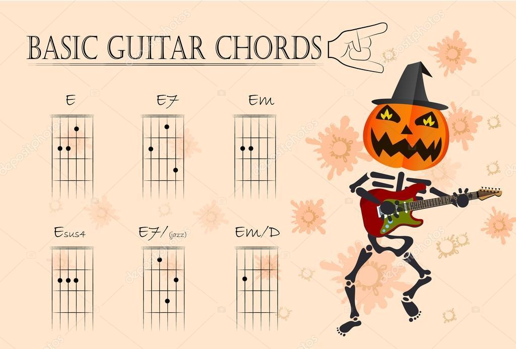 Basic guitar chords ,Vector illustration — Stock Vector ...