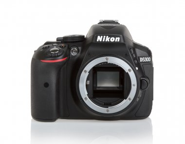 KYIV, UKRAINE - JUNE 19, 2015: Nikon d5300 camera body on white
