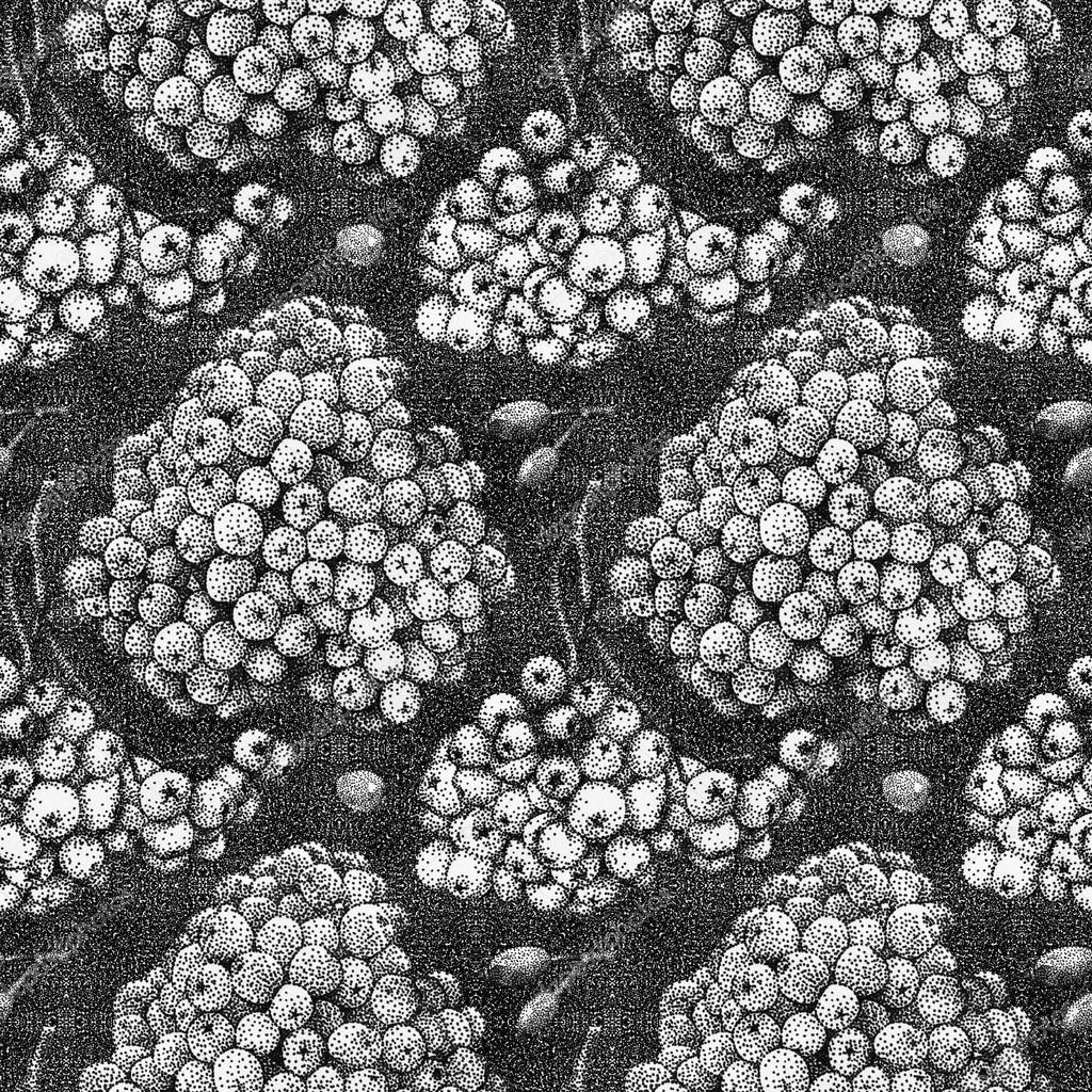 Seamless pattern with rowan and briar drawn by hand