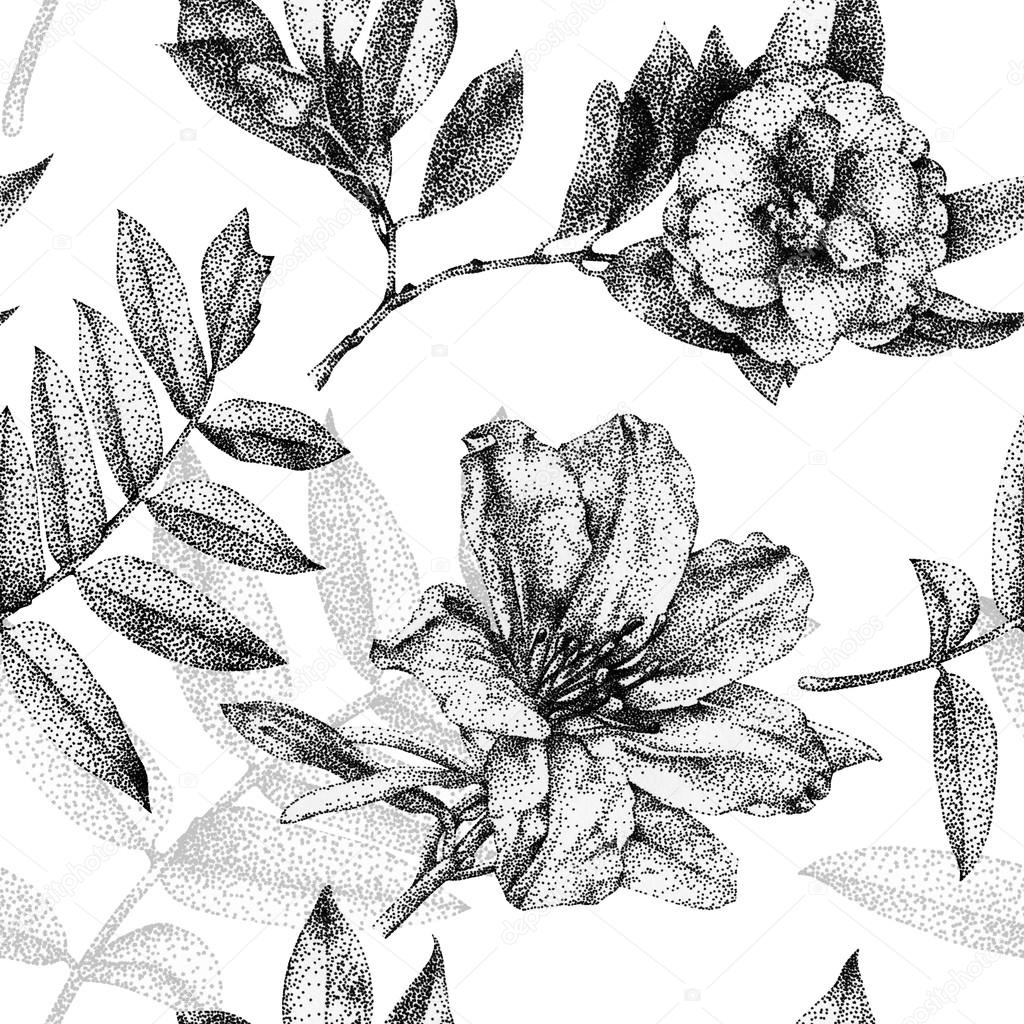 Seamless pattern with different flowers and plants drawn by hand