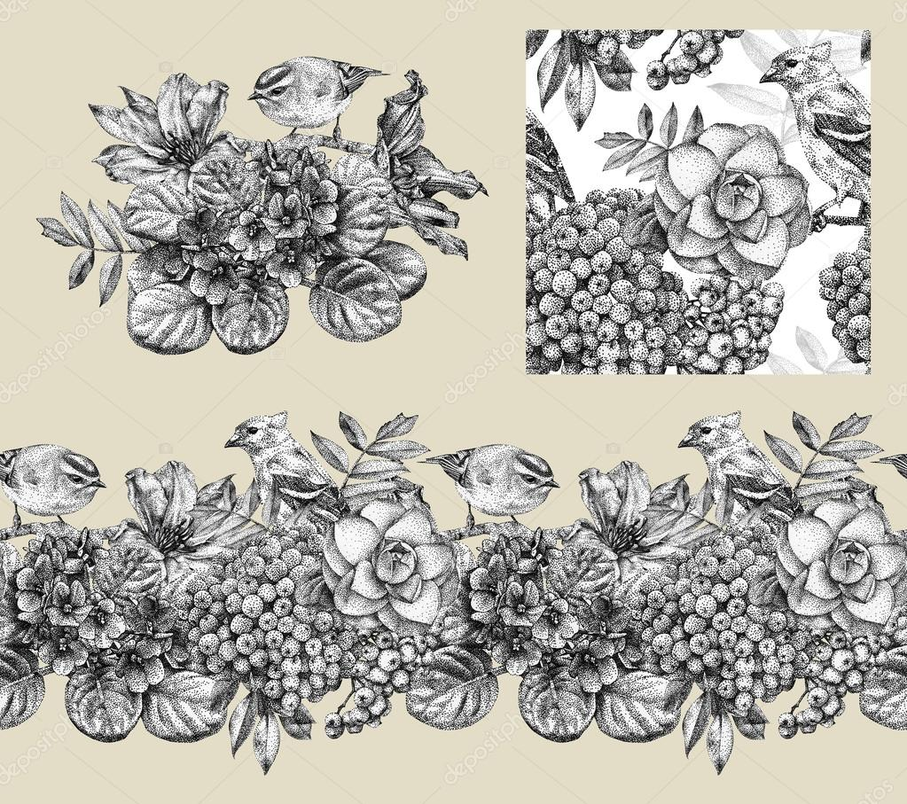 Set of border, pattern, and illustration with different flowers