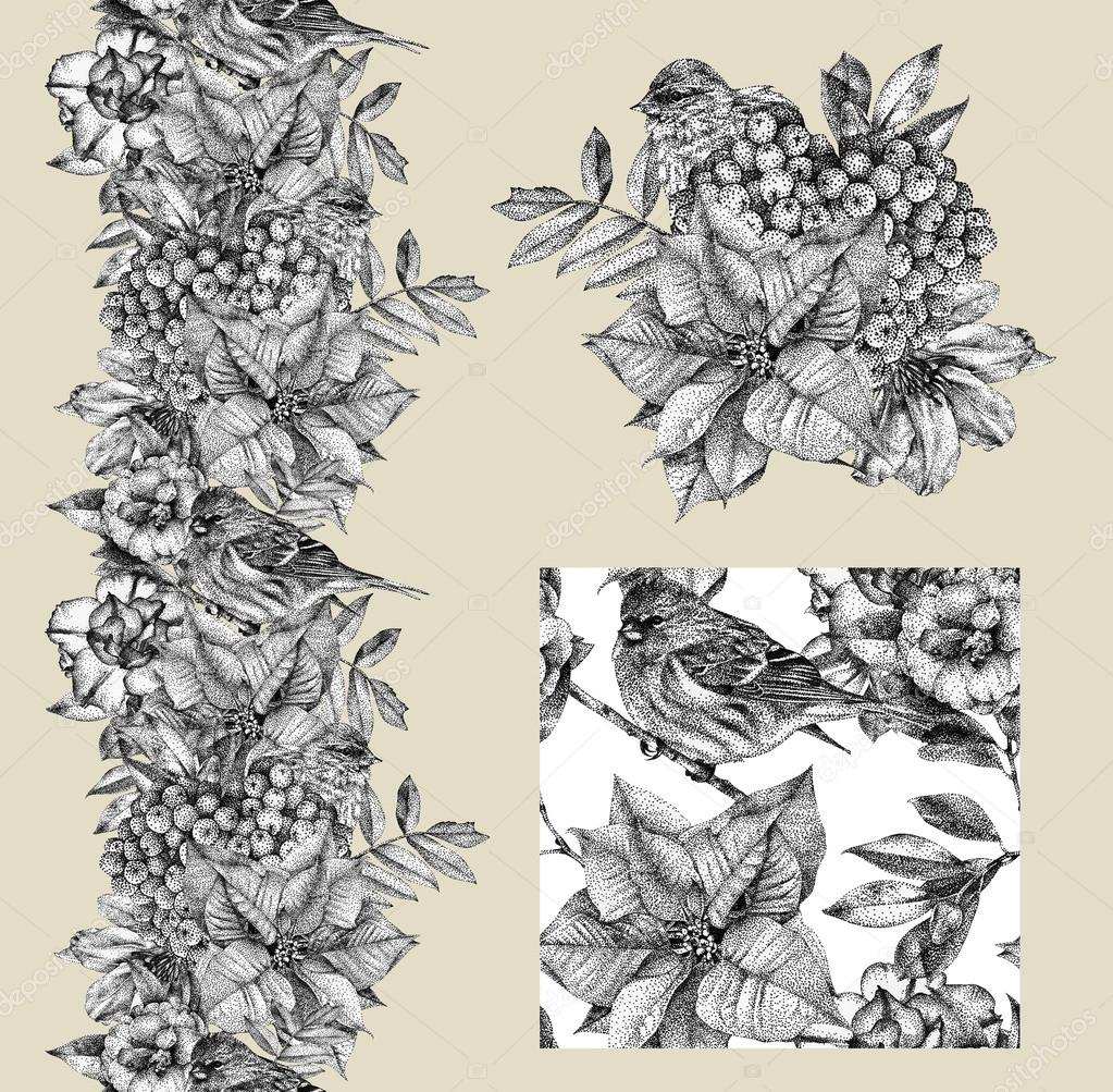 Set of border, pattern, and illustration with different flowers, birds and plants drawn by hand with black ink