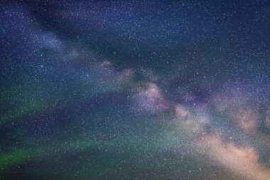 Abstract picture with beautiful starry sky, milky way and Northe