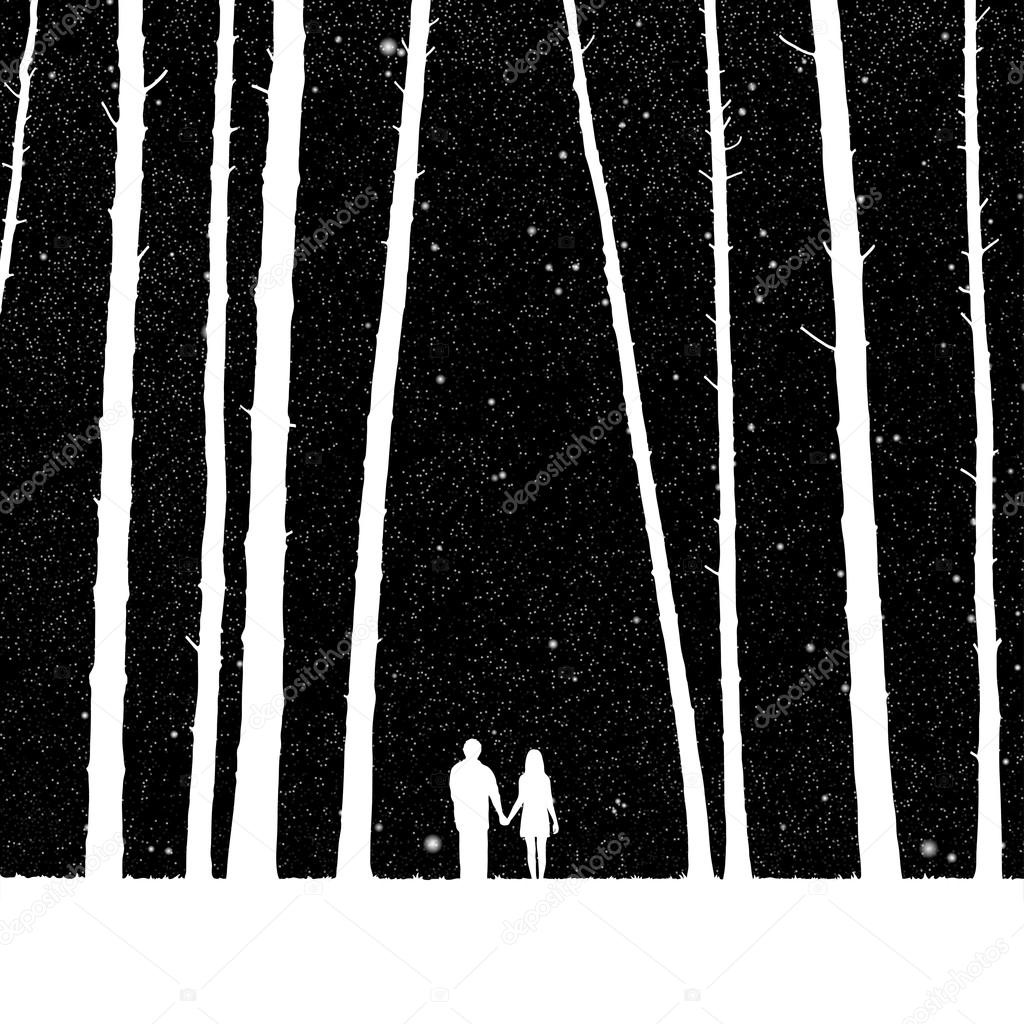 Lovers in forest