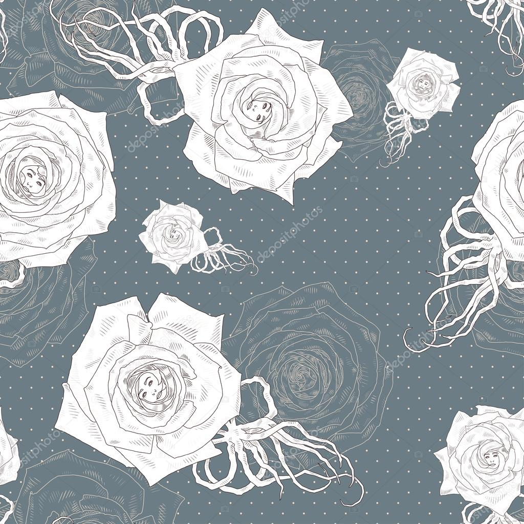 Seamless vector pattern with abstract cartoon roses