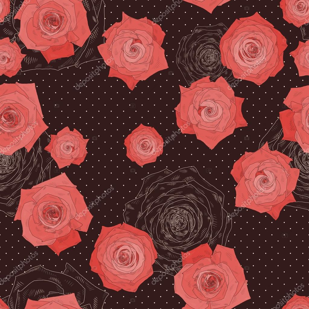 Seamless vector pattern with beautiful roses