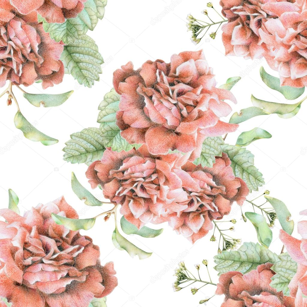Seamless pattern with beautiful spring flowers and plants stock seamless pattern with beautiful spring flowers and plants stock photo izmirmasajfo
