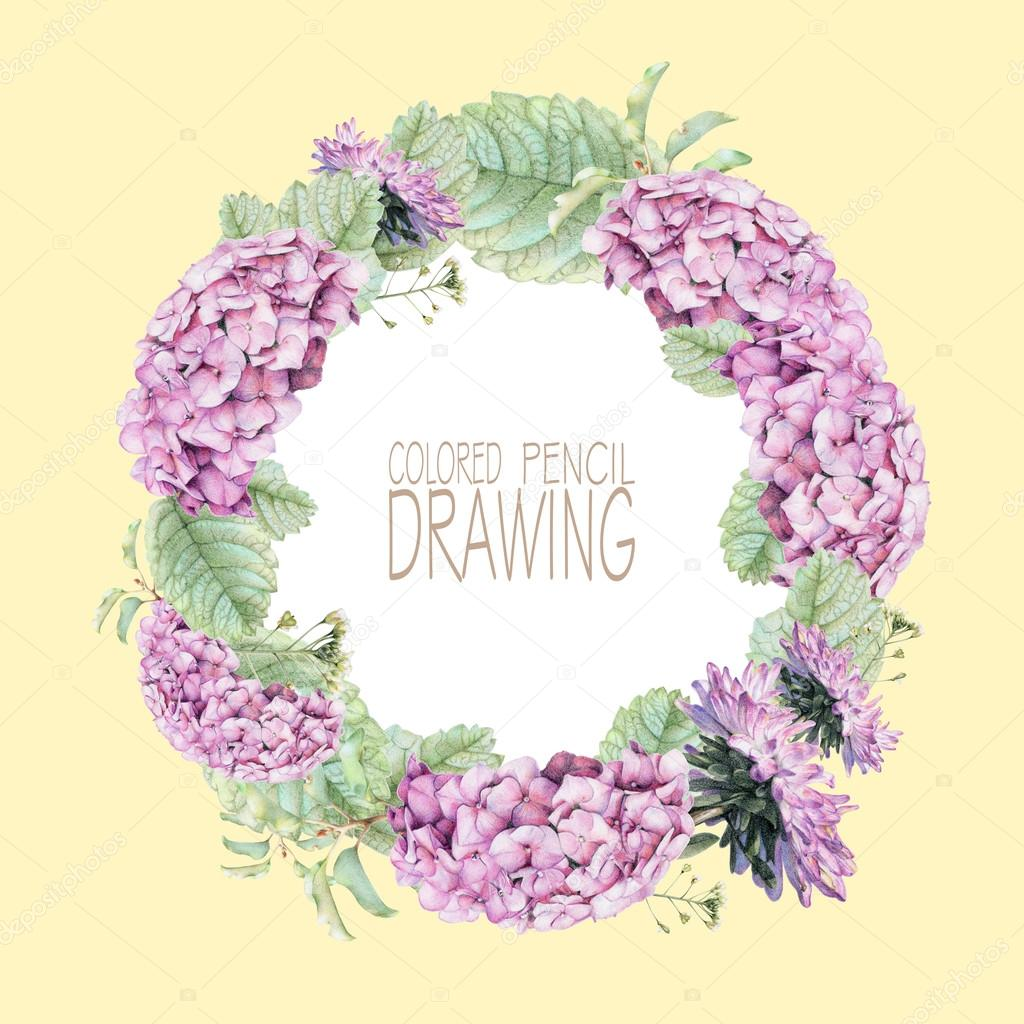 Round frame with beautiful spring flowers and plants