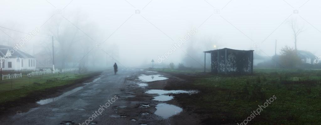 Rural landscape with road and bus stop in fog