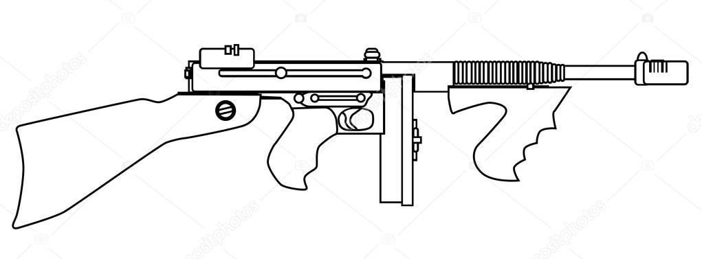 thompson machine gun coloring pages - photo#4