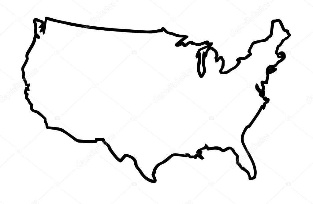 USA Broad Outline Map Stock Vector BigAlBaloo - Us map outline vector