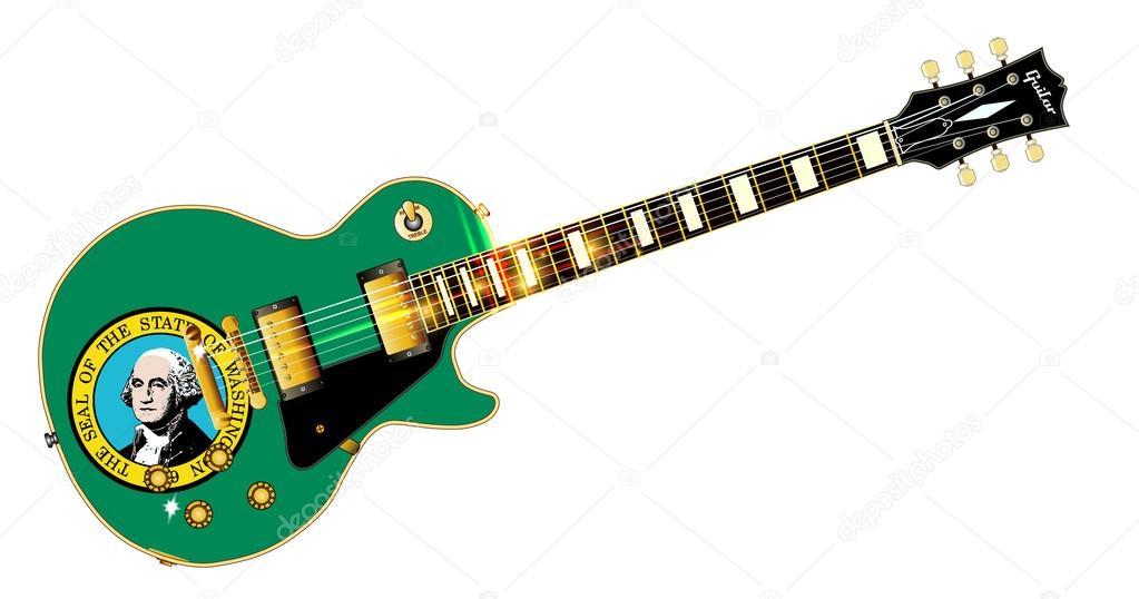 Guitarra de bandera del estado de Washington — Vector de stock ...